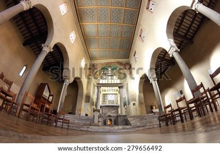 ROME, ITALY - APRIL 21, 2015:  San Giorgio al Velabro ancient romanesque church, the central nave - stock photo
