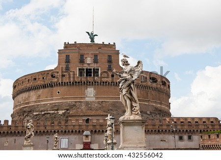 ROME, ITALY - APRIL 26, 2016: The Mausoleum of Hadrian or Castel Sant' Angelo (Castle of the Holy Angel)