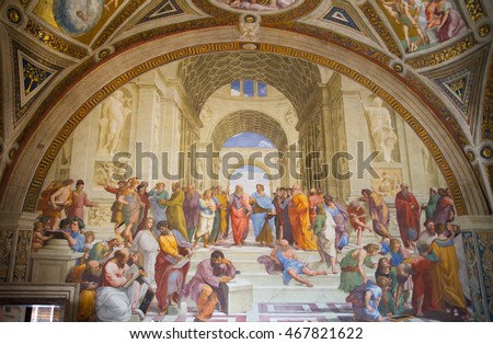 ROME, ITALY - APRIL 8, 2016: The School of Athens, Raphael room's in Museums of Vatican.