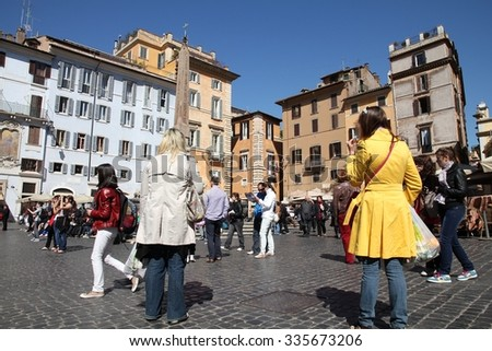 ROME, ITALY - APRIL 10, 2012: Tourists visit Piazza della Rotonda in Rome. According to official data Rome was visited by 12.6 million people in 2013. - stock photo