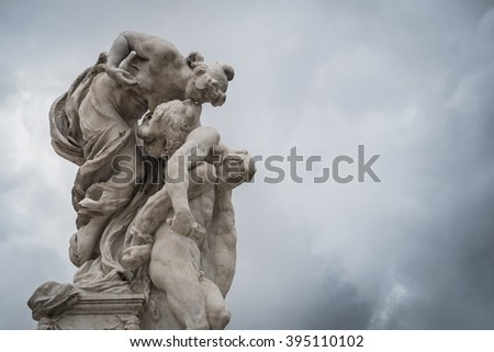 Rome, Italy - 4 April 2015:  View of statues of the Victor Emmanuel II Monument.