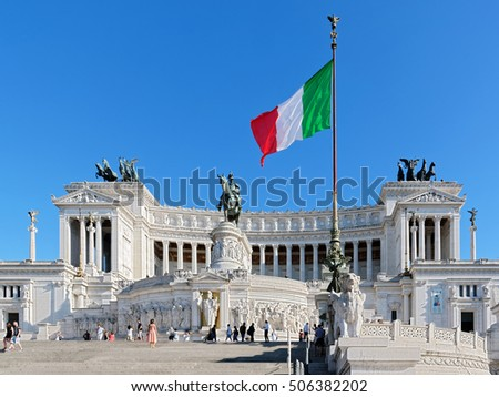 Rome, Italy - August 13, 2016: Altar of the Fatherland, Altare della Patria, also known as the National Monument to Victor Emmanuel II, Rome Italy with Italian national flag in Rome, Italy