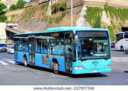 ROME, ITALY - AUGUST 1, 2014: Blue city bus Mercedes-Benz O530 Citaro UE at the city street. - stock photo