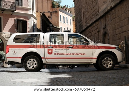 Rome, Italy - August 14, 2017: car of Corpo italiano di soccorso dell'Ordine di Malta - CISOM, side view