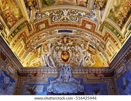 Rome, Italy - August 15, 2016: Ceiling painting with papal coat of arms of Gregory XIII in Vatican, Italy