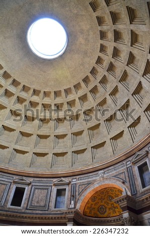 ROME, ITALY - AUGUST 21, 2014: Interior of Pantheon in Rome, Italy. Panthenon is roman temple commissioned by Marcus Agrippa during reign of Augustus and rebuilt by emperor Hadrian about 126 AD.
