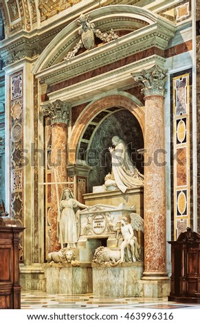 Rome, Italy - August 28, 2012: Interior of Saint Peter Basilica in Vatican, in Italy