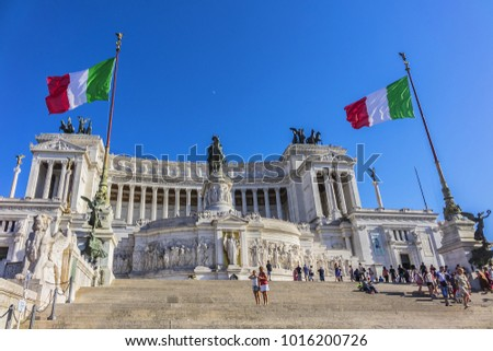 ROME, ITALY - AUGUST 8, 2016: Many tourists visiting National Monument to Victor Emmanuel II (Altare della Patria) on Venice Square, built in honour of Victor Emmanuel - first king of a unified Italy.