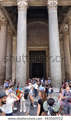 ROME, ITALY - AUGUST 14, 2016: people at the entrance of the Pantheon, ancient Roman temple