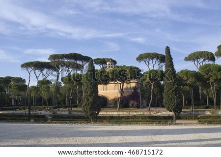 ROME, ITALY - AUGUST 2, 2016: The Piazza di Siena, located in the villa Borghese public park , hosted the equestrian dressage and the jumping part of the 1960 Summer Olympics.