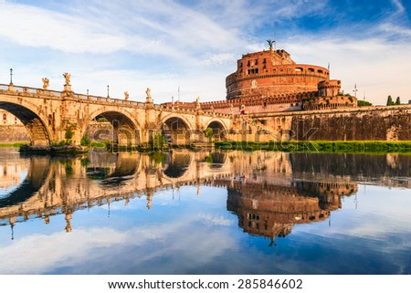 Rome, Italy. Bridge and Castel Sant Angelo and Tiber River. Built by Hadrian emperor as mausoleum in 123AD ancient Roman Empire landmark. - stock photo