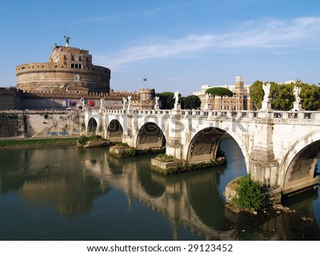 Rome, Italy, bridge and  castle de Sant' Angelo - stock photo