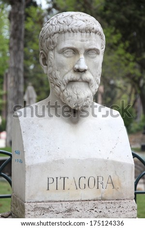 Rome, Italy. Bust statue of Pythagoras, famous philosopher, mathematician and scientist. Sculpture in Villa Borghese park. - stock photo