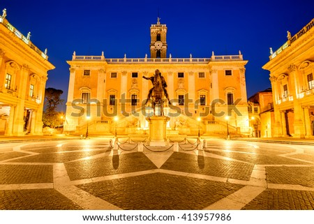 Rome, Italy. Campidoglio Square, Capitoline the most sacred in city of seven hills. - stock photo