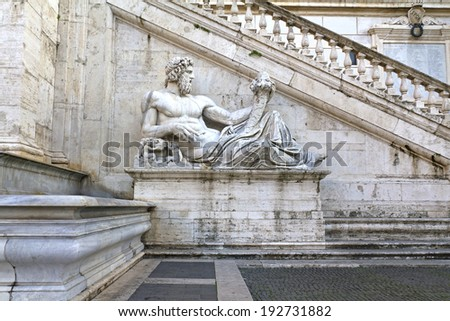 Rome, Italy. Capitol Hill, one of the hills of ancient Rome, where in ancient times was the Senate - stock photo
