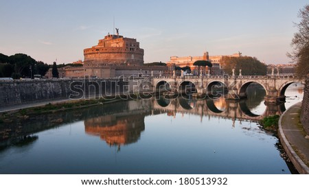 Rome, Italy - Castel S.Angelo at sunset - stock photo