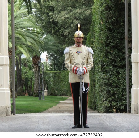 ROME, ITALY - CIRCA JULY 2016: unidentified presidential guard at the entrance of the Quirinale Palace (official residence of the president of the Republic of Italy)