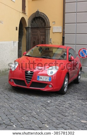 ROME, ITALY - CIRCA OCTOBER 2015: car parked in a street of the city centre