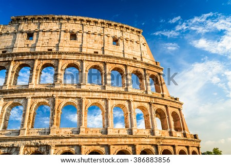 Rome, Italy. Colosseum in Roma, Italia. Symbol of the ancient city. Amphitheatre in sunset light. - stock photo