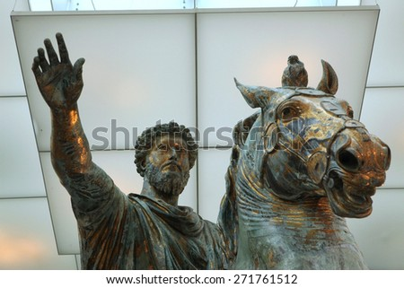 ROME, ITALY - DECEMBER 18, 2011: Roman bronze equestrian statue of Marcus Aurelius displayed in the Capitoline Museums in Rome, Italy. - stock photo