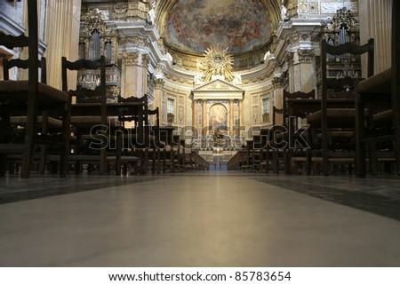 Rome, Italy. Famous Gesu Church altar and interior (Chiesa del Gesu). - stock photo