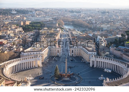 Rome, Italy. Famous Saint Peter's Square in Vatican and aerial view of the city - stock photo