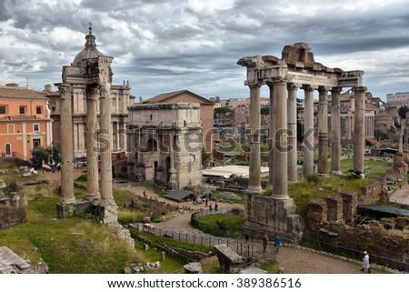 ROME. ITALY. FEBRUARY 23 2016 Ancient Roman ruins in Rome, ROME. ITALY. FEBRUARY 23 2016 - stock photo