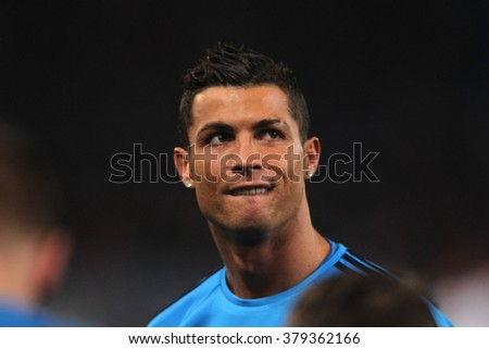 ROME, ITALY FEBRUARY 2016 :Christian Ronaldo trains before the football match  of Uefa Champions League 2016 last-16 between A.s. Roma vs Real Madrid at the Olimpic Stadium on Februry 17, 2016 in Rome. - stock photo