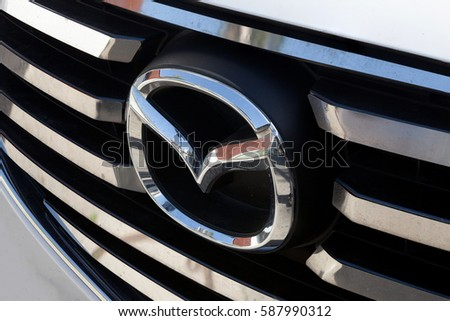 Rome, Italy - February 18, 2017: Mazda emblem. Mazda Motor Corporation is a Japanese multinational automaker based in Hiroshima Prefecture, Japan.
