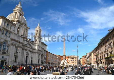 ROME, ITALY - FEBRUARY 23, 2014: Piazza Navona on February 23 2014. Piazza Navona is one of the most famous squares of Rome - stock photo