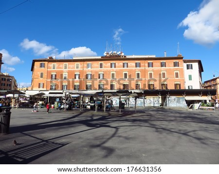 ROME, ITALY - FEBRUARY  6, 2014:  Piazza San Cosimato in the Rione Trastevere after the open market activity