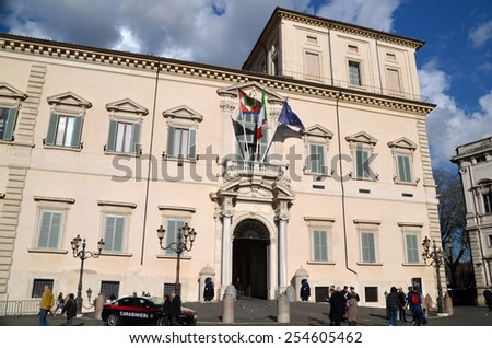 Rome, Italy - February  22, 2014:Quirinal Palace at the Piazza del Quirinale in Rome - Residence of the President of the Italian Republic. - stock photo