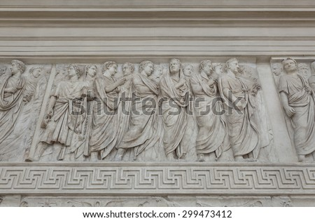 ROME, ITALY - JANUAR 25, 2015: Close up of a frieze from Augustus' Ara Pacis (Altar of Augustan Peace). Detail of the procession showing members of Augustus' Family (south face)