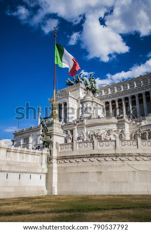 Rome, Italy, January 4, 2018, Altar of the Fatherland, National Monument of Vittorio Emanuele II
