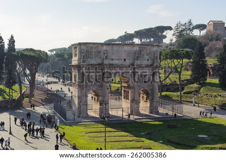 ROME, ITALY - JANUARY 21, 2010: Arch of Constantine is a triumphal arch in Rome near the colosseum and it is the lastest one of existing triumphal arches in Rome. - stock photo