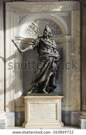ROME, ITALY - JANUARY 21, 2010: Bronze statue of Philip IV of Spain at the entrance of Santa Maria Maggiore in Rome, Italy. - stock photo