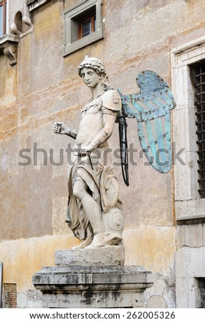 ROME, ITALY - JANUARY 27, 2010: The original archangel of Saint Michael situated in the Castel Sant'Angelo in Rome, Italy. It was sculpted by Raffaello da Montelupo. - stock photo