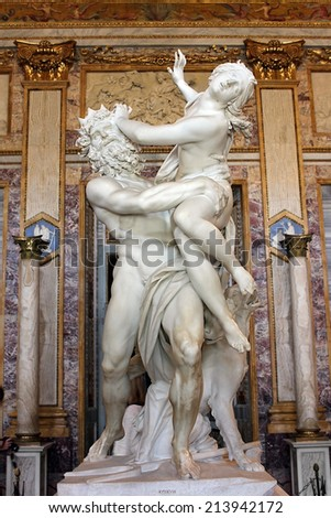 Rome, Italy - July 02: baroque marble sculptural group by Italian artist Gian Lorenzo Bernini, Rape of Proserpine on July 02, 2014, Galleria Borghese, Rome, Italy - stock photo