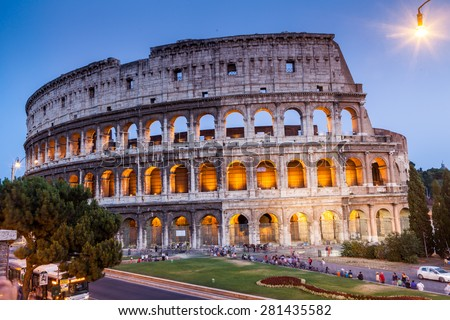 ROME, ITALY - JULY 21: Exterior views of the Colosseum and the places around, in Rome on July 21, 2012. Rome is the capital of Italy and region of Lazio. - stock photo