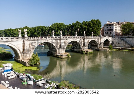 ROME, ITALY - JULY 21: Exterior views to the Aelian Bridge near Castel Sant Angelo, in Rome on July 21, 2012. Rome is the capital of Italy and region of Lazio. - stock photo