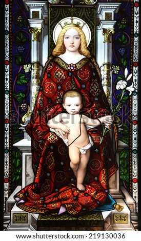 ROME, ITALY - JULY 19: Mother and Child, stained glass in Vatican Museum on July 19, 2014 in Rome, Italy. - stock photo