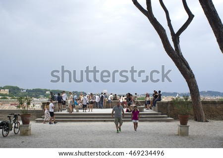 ROME, ITALY - JULY 23, 2016:Orange garden, Giardino degli Aranci public park, People at the panoramic terrace