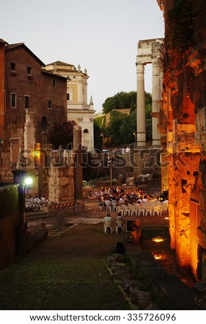 ROME, ITALY - JULY 27, 2015: People assist at the Christine McCarthy concert in the ancient open-air theater of Marcellus - stock photo