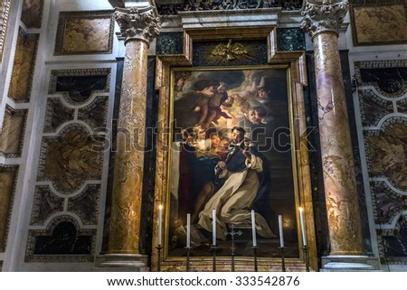 ROME, ITALY, JUNE 16, 2015 : interiors and architectural details of Santa Maria Sopra Minerva church, june 16, 2015 in Rome, Italy