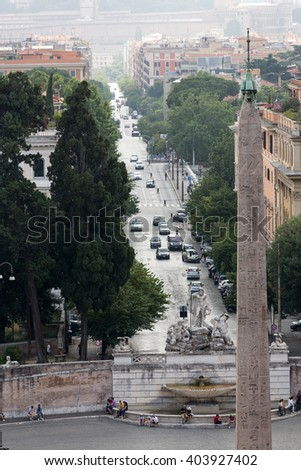 ROME, ITALY - JUNE 14, 2015: Piazza del Popolo and via Flaminia seen from Pincio terrace in Rome. Italy - stock photo