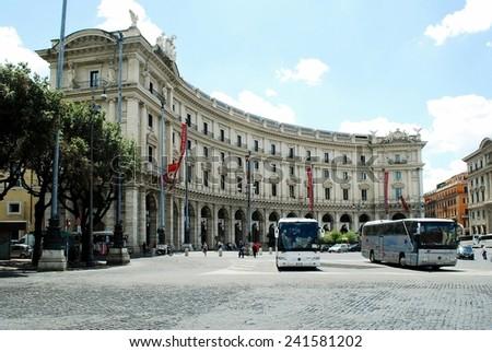 ROME, ITALY - JUNE 1: Rome city life. View of Rome city Piazza della Reppublica on June 1, 2014, Rome, Italy. - stock photo
