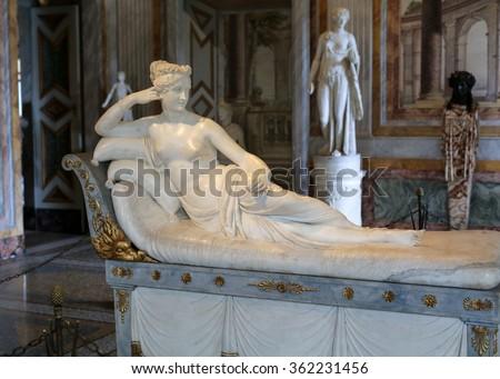 ROME, ITALY - JUNE 14, 2015: Statue Pauline Bonaparte by Antonio Canova in  Galleria Borghese, Rome, Italy - stock photo