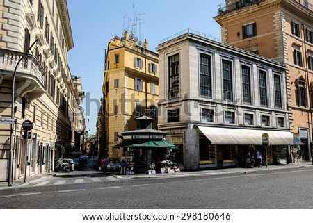 ROME, ITALY JUNE, 28th: Streets of Rome, Italy on June 28th, 2015. - stock photo