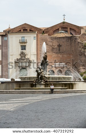 ROME, ITALY - JUNE 12, 2015: The Fountain of the Naiads and  The Basilica of St. Mary of the Angels and the Martyrs on Piazza della Repubblica in Rome. Italy - stock photo