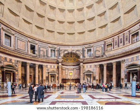 ROME, ITALY - MARCH 21 2014: Intereor Shot of the Pantheon with it's famous cupola on MARCH 21 2014 in Rome in Italy